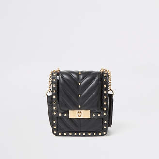 River Island Black studded quilted cross body bag