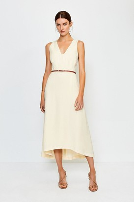 Karen Millen Plunge Belted Midi Dress