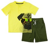 Little Rebels Toddler Boys' Two Piece Set with Henley Top and French Terry Short - Olive Green