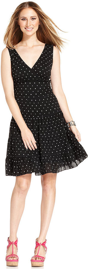Style&Co. Dress, Sleeveless Tiered Dot-Print