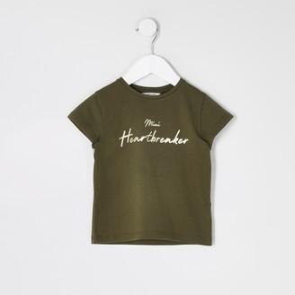 River Island Mini girls Khaki 'Mini heartbreaker' T-shirt