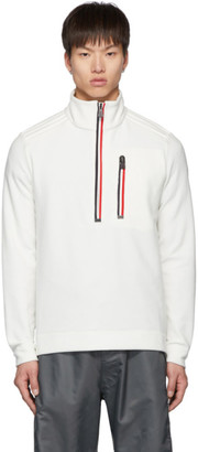 MONCLER GRENOBLE White Fleece Half-Zip Sweater