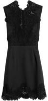 Sandro Lace-Paneled Twill Mini Dress