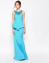 Forever Unique Ebony Fishtail Maxi Dress with Neckline Embellishment