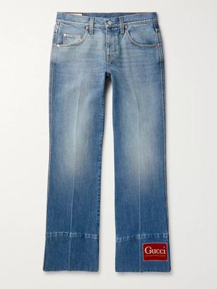 Gucci Flared Logo-Appliqued Denim Jeans