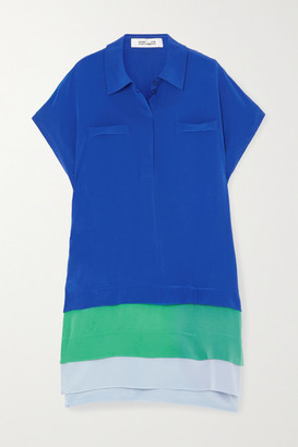 Diane von Furstenberg Hatsu Tiered Color-block Silk Crepe De Chine Mini Shirt Dress - Blue