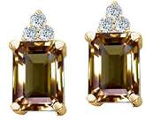Tommaso design Studio Tommaso Design Emerald Cut 8x6 mm Genuine Smoky Quartz and Diamond Earrings 14k