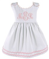 The Well Appointed House Girl's Pique Dress in White with Light Pink Trim-Can Be Personalized