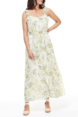 Gal Meets Glam Cheryl Printed Drawstring Waist Maxi Dress