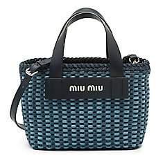 Miu Miu Women's Woven Denim & Leather Tote