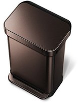 Simplehuman Rectangular Step Trash Can with Liner Pocket, Dark Bronze Stainless Steel, 45 L / 11.9 Gal