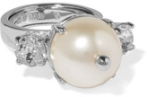 Miu Miu Silver-plated, Faux Pearl And Crystal Ring - large