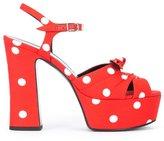 Saint Laurent polka dot sandals - women - Cotton/Leather - 36