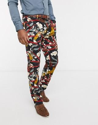 Topman skinny suit pants with bird print in black