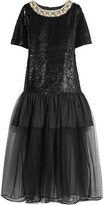 Ashish Sequined Cotton And Tulle Midi Dress - Black