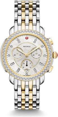 Michele 38mm Sidney Diamond Chronograph Steel/Gold Watch