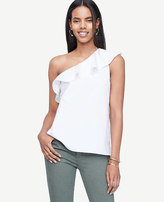 Ann Taylor Ruffle One Shoulder Top