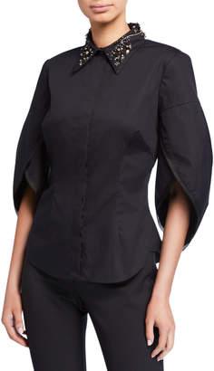 Zac Posen Tulip Sleeve Embroidered-Collar Shirt