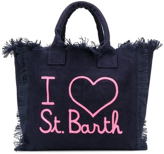 MC2 Saint Barth Slogan-Print Frayed Beach Bag