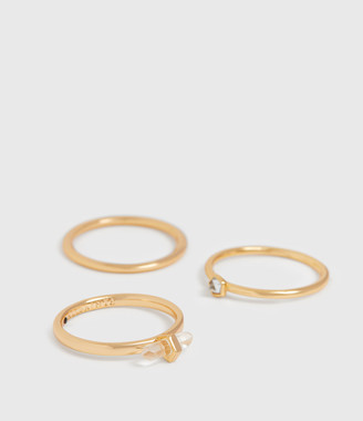 AllSaints Quin Gold Tone Semi-Precious Crystal Quartz Three Ring Set