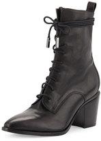Sigerson Morrison Duran Lace-Up Block-Heel Boot, Black