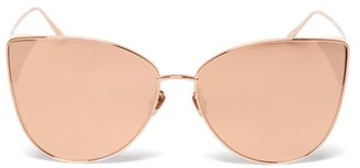 Linda Farrow Ida Cat-eye 18kt Rose Gold-plated Sunglasses - Pink
