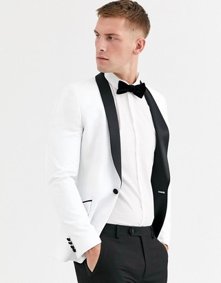 Asos Design DESIGN super skinny tuxedo jacket in white with black lapel
