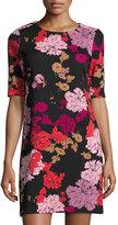 1 STATE 1.STATE Floral A-Line Short Sleeve Dress, Black