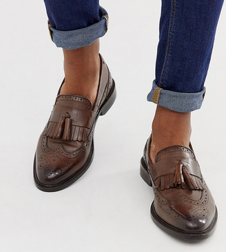 ASOS DESIGN Wide Fit loafers in brown leather with natural sole and fringe detail