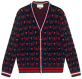 Gucci Skull and flower jacquard cardigan