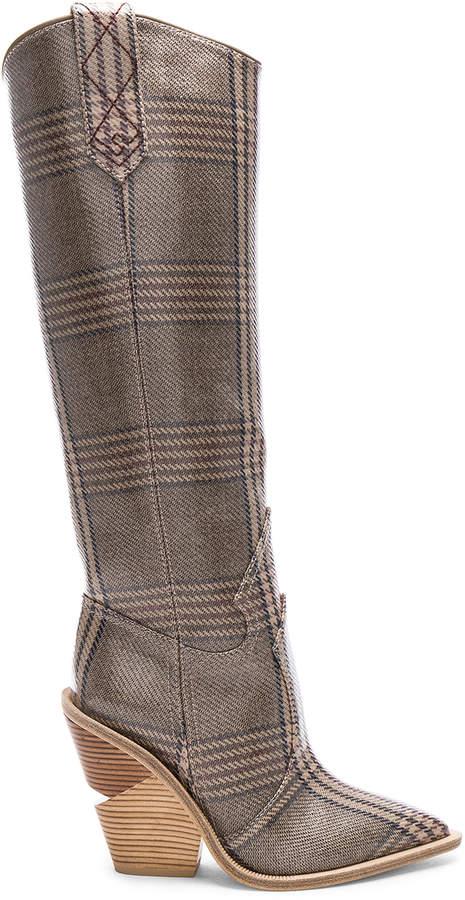 d9ddb5a6d93 Cutwalk Check Knee High Western Boots in Grey   FWRD
