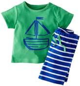 PAPAkid® Toddler Kids Boys Cotton Summer Nautical Shirt + Shorts 2pcs Suit (Green)