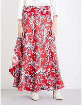 J.W.Anderson Filigree-print ruffled silk-crepe maxi skirt