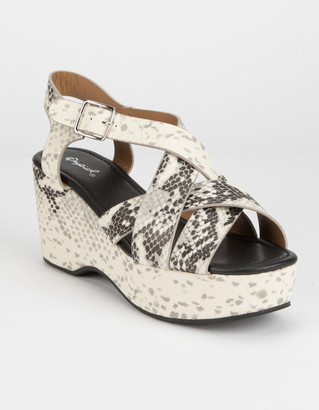 Qupid Strappy Snake Womens Wedge Sandals