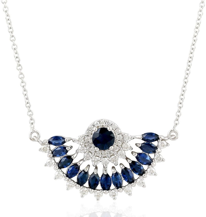 Artisan 18K White Gold Designer Half Circle Necklace
