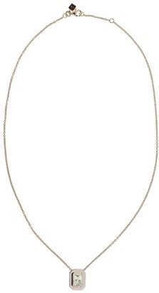 Selim Mouzannar 18kt Rose Gold Yellow Sapphire And Light Pink Enamel Pendant Necklace