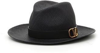 Valentino V Ring Straw Fedora Hat