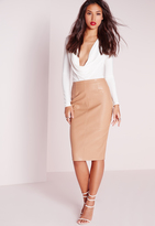 Missguided Faux Leather Seam Detail Midi Skirt Camel