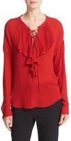 The Kooples Lace-Up Silk Ruffle Blouse