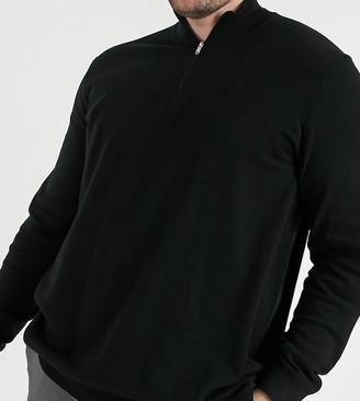 Burton Menswear Big & Tall half zip jumper in black