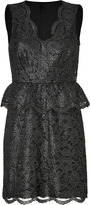 DKNY Black Metallic Floral Lace Peplum Dress