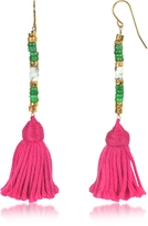 Aurelie Bidermann 18K Gold-plated & Green Jaspe and White Bamboo Beads Sioux Earrings w/Pink Cotton Tassels