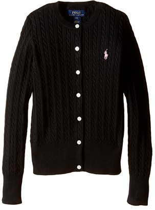 Polo Ralph Lauren Mini Cable Sweater (Little Kids/Big Kids) (Polo Black) Girl's Sweater