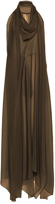 Petar Petrov Aliya Draped Silk-Chiffon Maxi Dress