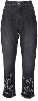 Beau Souci crystal embellished cropped jeans
