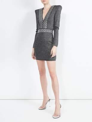 Balmain lurex fitted mini dress