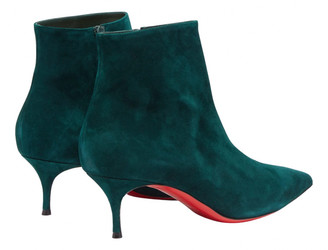 Christian Louboutin Green Suede Ankle boots
