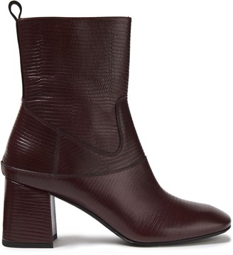McQ Paneled Lizard-effect Leather Ankle Boots