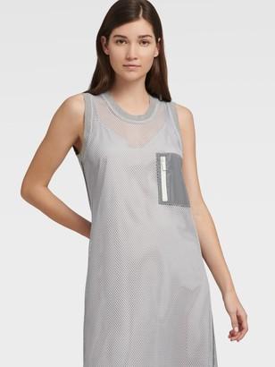 DKNY Women's Sleeveless Dress With Pockets - Grey/Silver - Size XX-Small