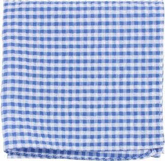 Knightsbridge Neckwear Mens Gingham Checked Cotton Pocket Square - Blue/White